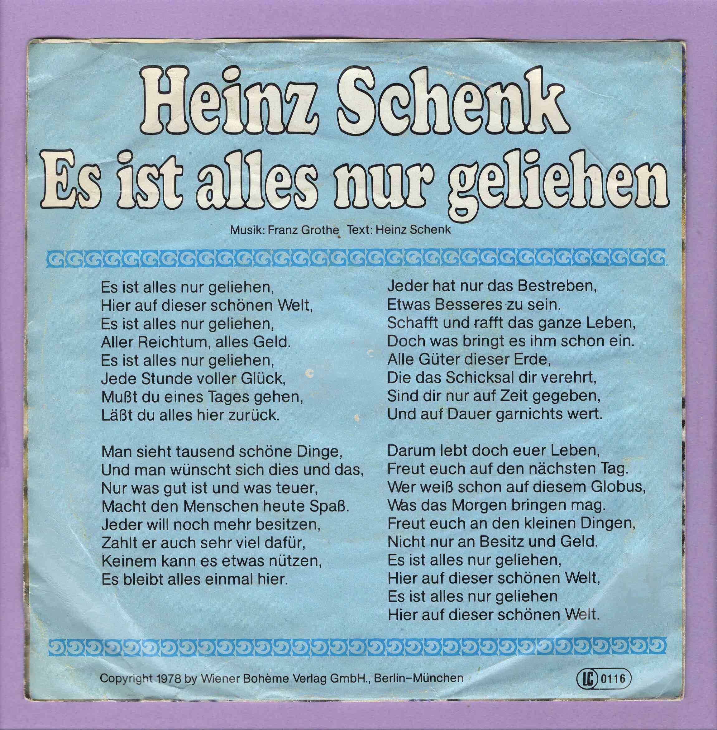 Heinz Schenk - Es Ist Alles Nur Geliehen - Vinyl Hobbyist